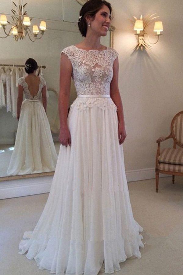 XP176 a line prom dress,lace prom dress,chiffon lace prom dress,long ...