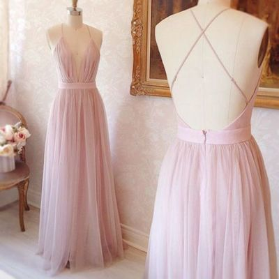 59141042dad Simply Elegant A-line Pink Long Prom Dress with Criss Cross Back on Storenvy
