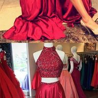 d8185887f8b ... Red Sequins prom dress