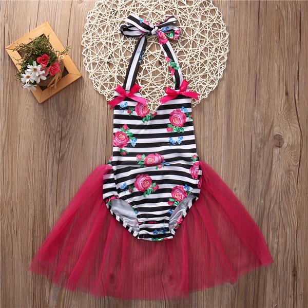 9ef26ea240b1 Black striped and floral tutu romper