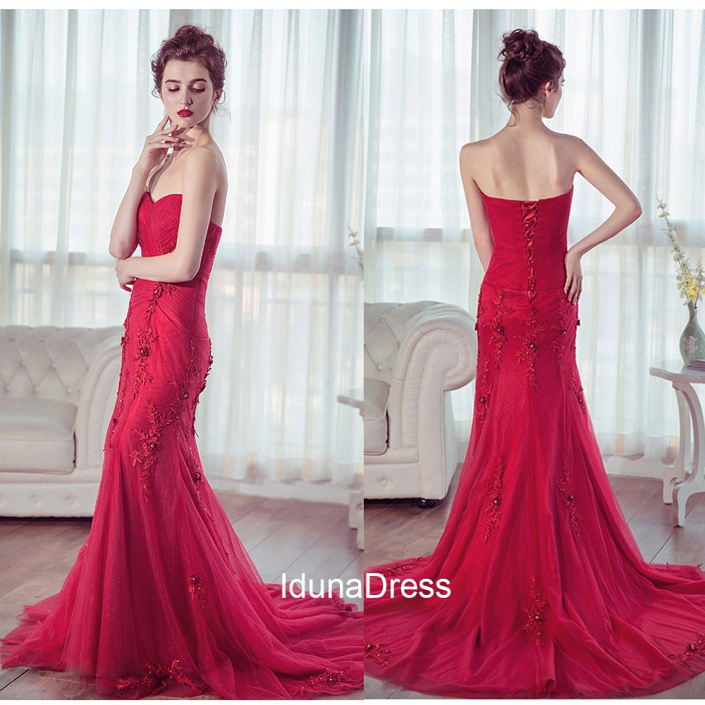 Sweetheart Applique Red Evening Dress, Floor Length Beaded Evening ...