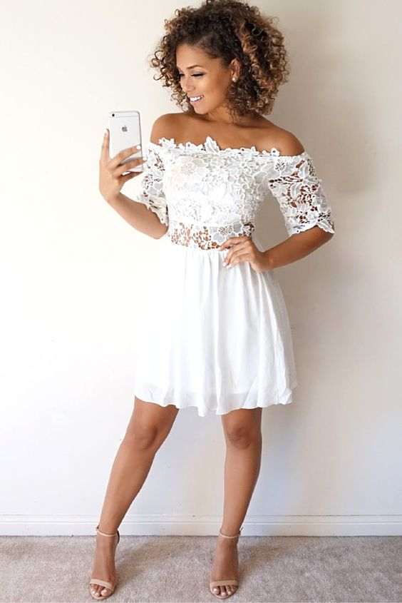 39e2f34ae690 Lace off shoulder summer dress