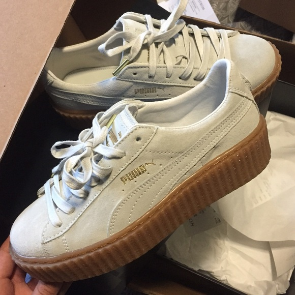 Fashion Shoes by Rihanna women s Creeper Retro Nubuck White Brown on ... b6f718649