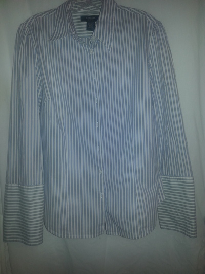 21dfbeb1cc Express White and Blue Stripes Button Down Dress Shirt - French Cuff ...