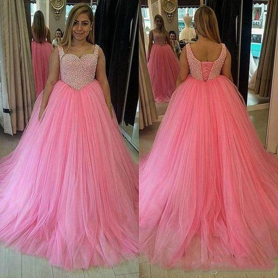 AM185 Lace Up Pink Wedding Dress, Ball Gowns
