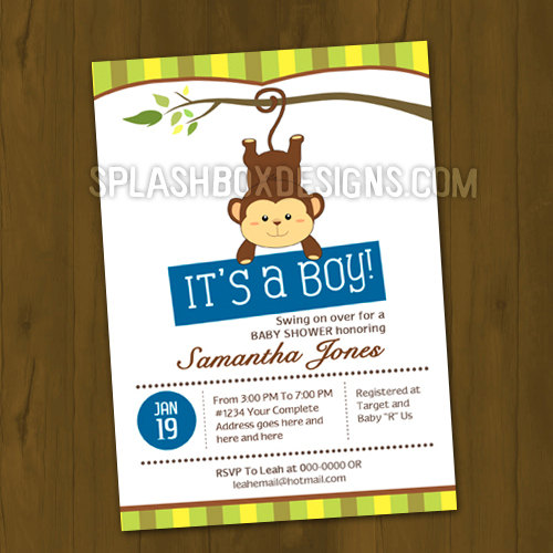 Monkey Baby Shower Printed Invitations