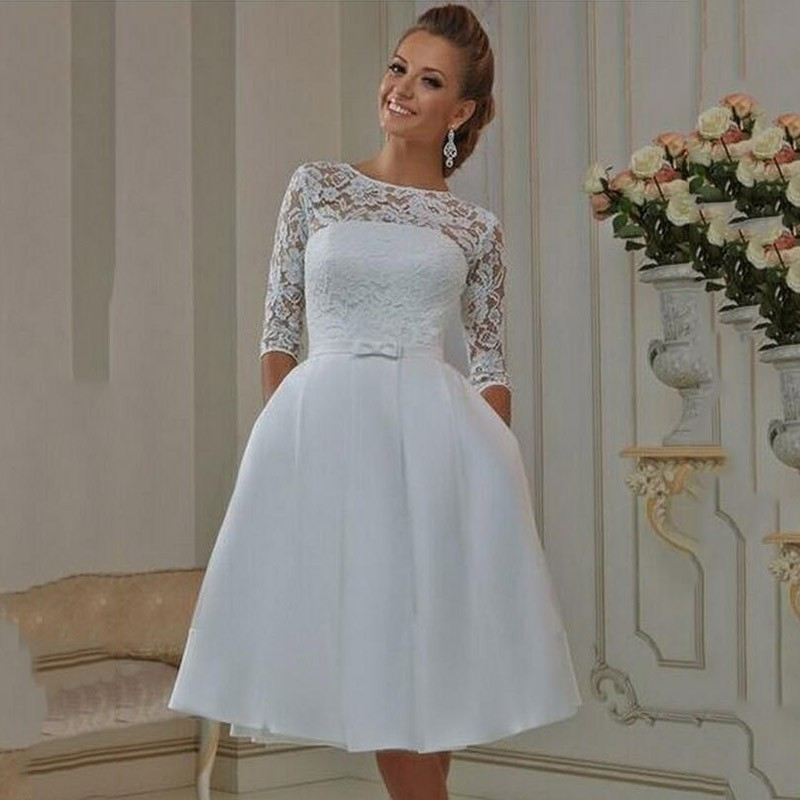New White Lace Knee Length Wedding Dresses Scoop Half
