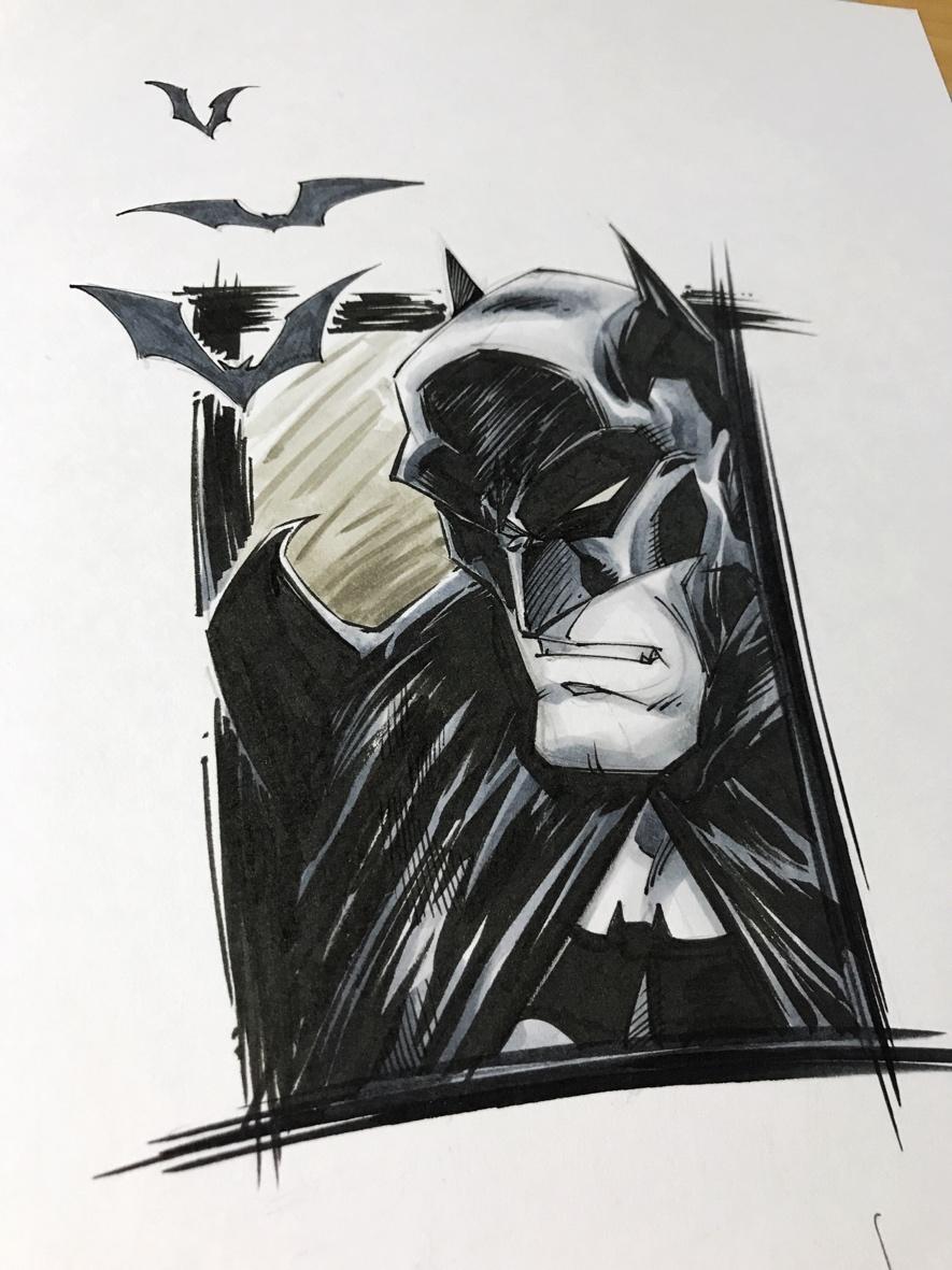 original art batman copic colored thumbnail 1