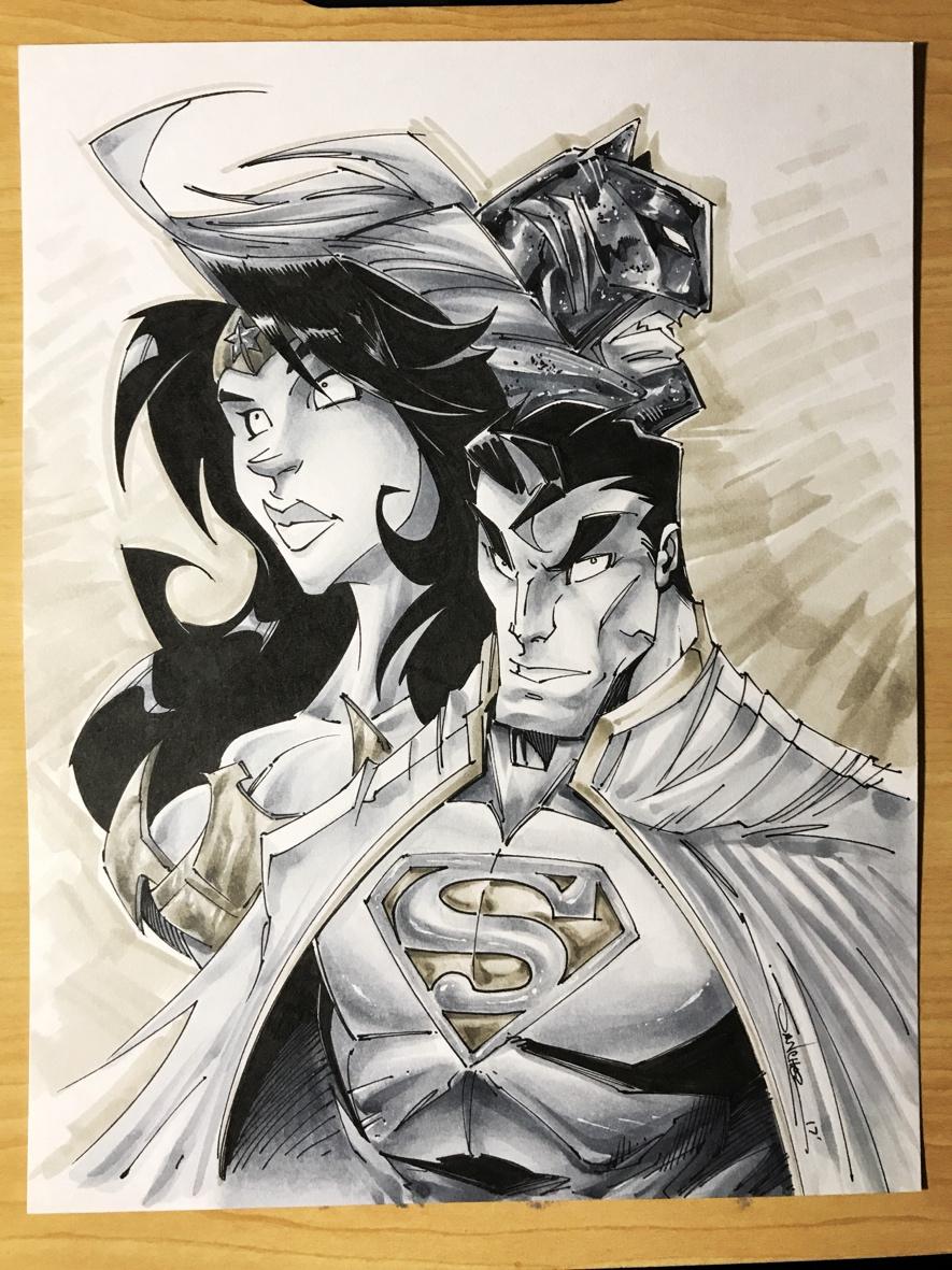 original art jla superman wonder woman batman