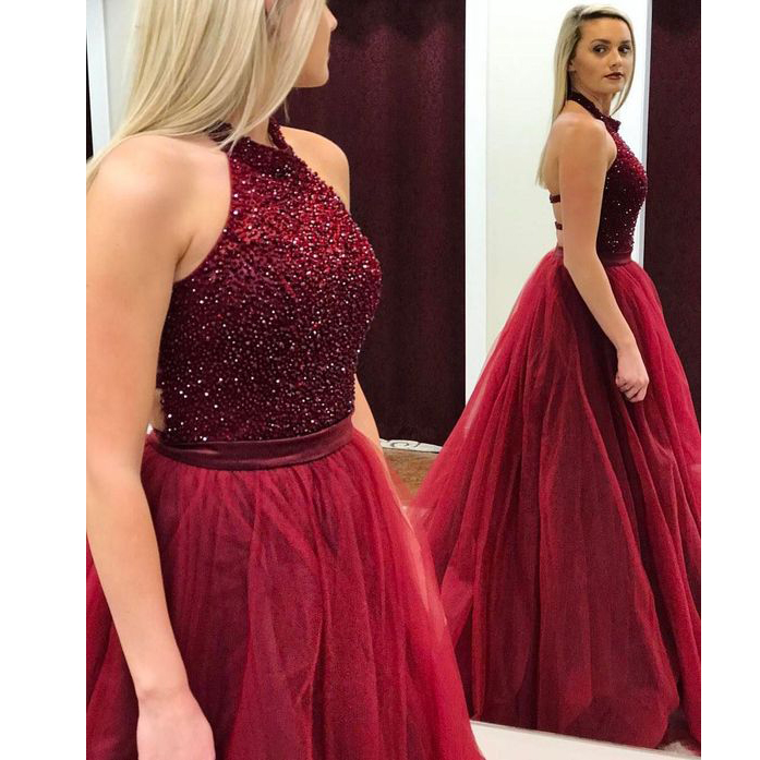 6a5997f8eebc Beaded Wine Red Ball Gown Prom Dress,Princess Tulle Formal Gown ...