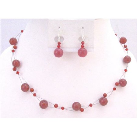NS631 Passionate Siam Red Swarovski Crystals Red Glass Bead Wedding Jewelry 17a5a78e15