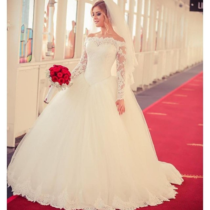2bf3d87acec Elegant Bateau Lace Ivory Ball Gown Wedding Dress