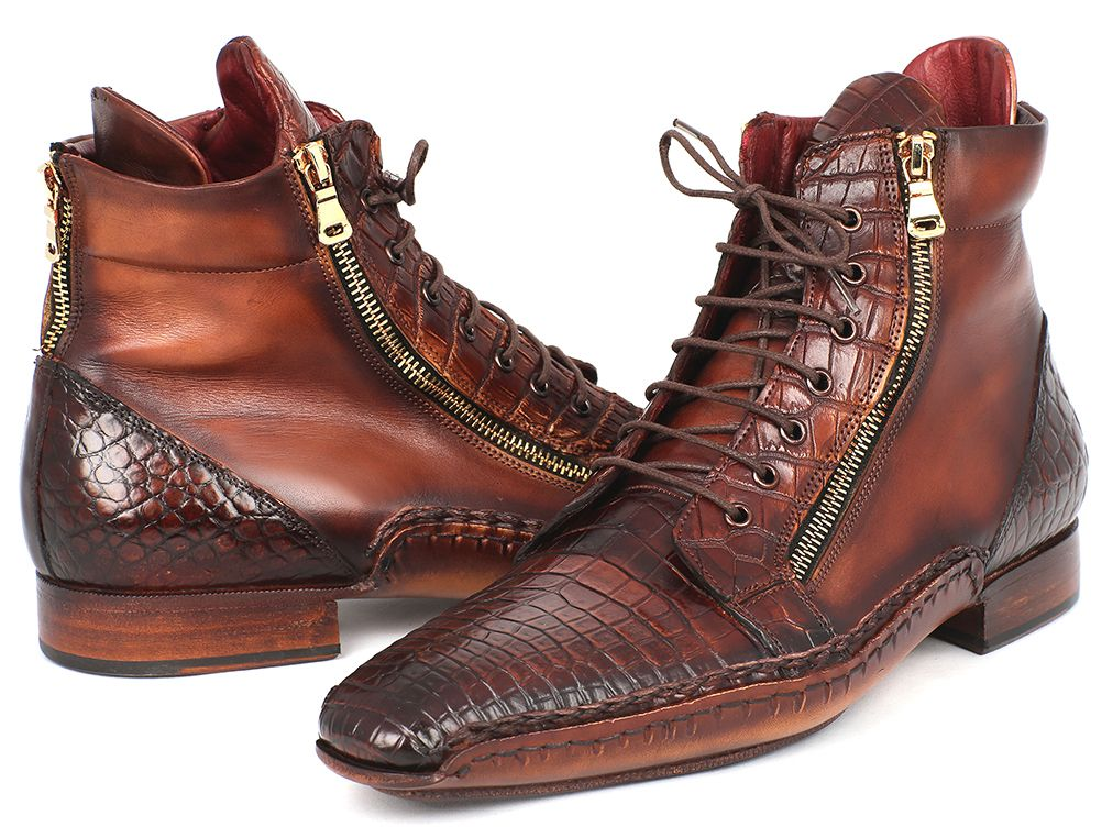 feed7d83a1b31 Paul Parkman Handmade Shoes, Paul Parkman Genuine Crocodile & Calfskin  Handmade Zipper Boots (ID#88CPK92)