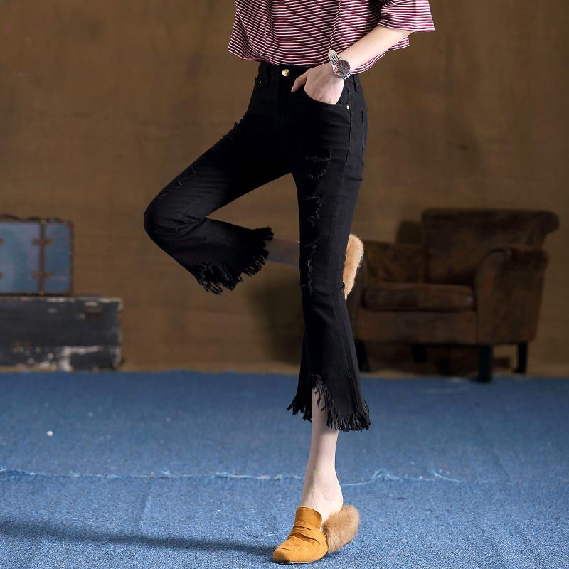 977c3f11388 Street Fashion Tassel Jeans Worn-Out Hole Ninth Bellbottoms DC227 ...