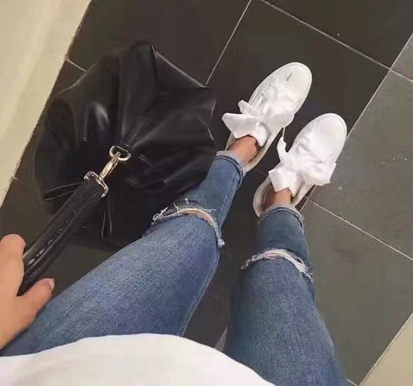 Fashion Suede Basket Heart Patent women's Skate shoes Casual sneaker white from supplier