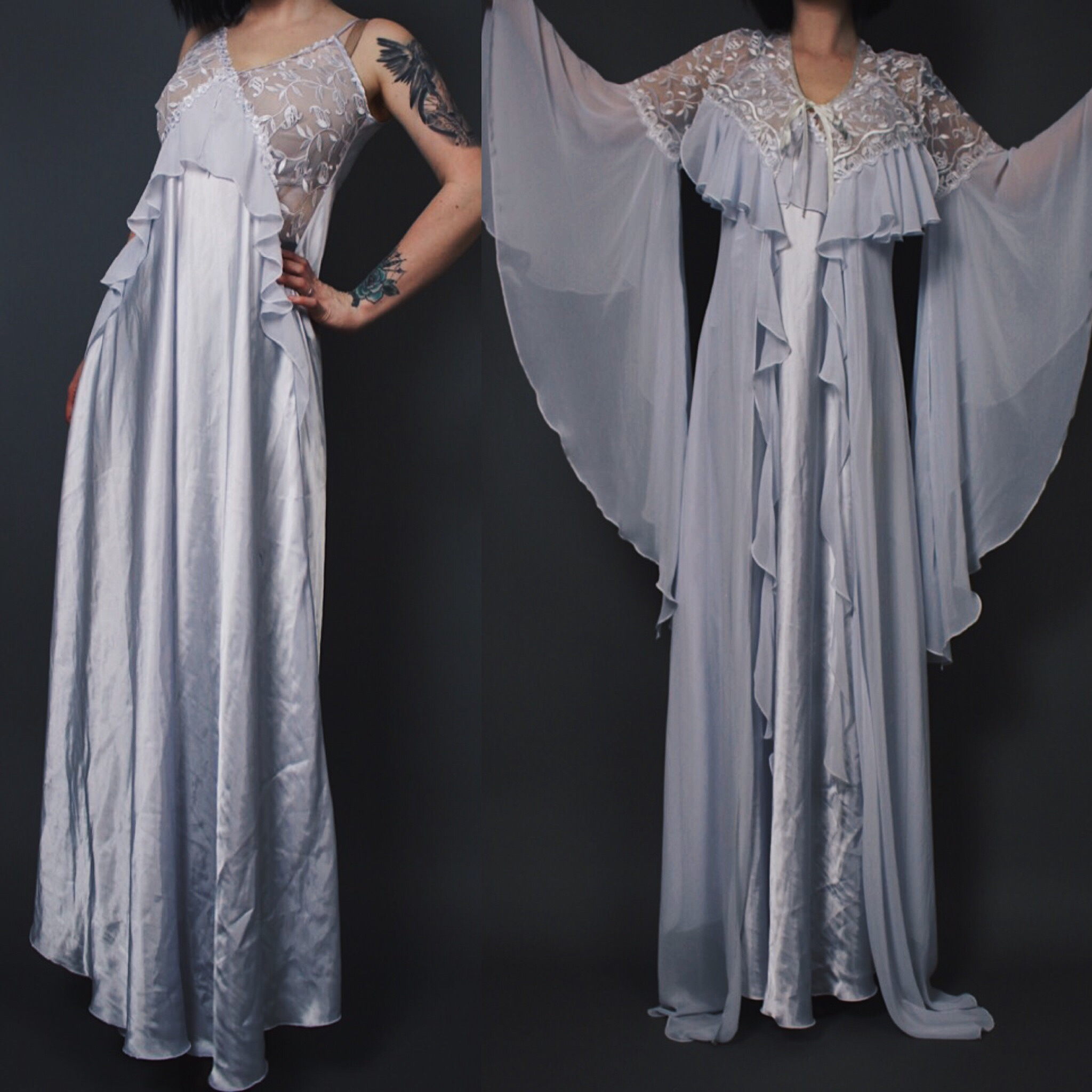 983071480eed CLAIMED @jamie.higgins._ - Vintage 80s Silver-Blue Satin and Lace ...