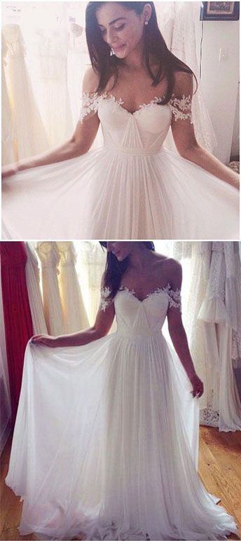 White Off the Shoulder Prom Dress