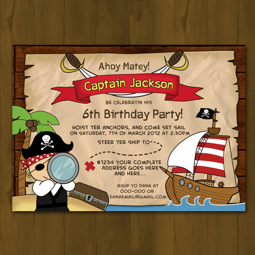 Pirate Birthday Printed Invitation Pirate Ship Birthday