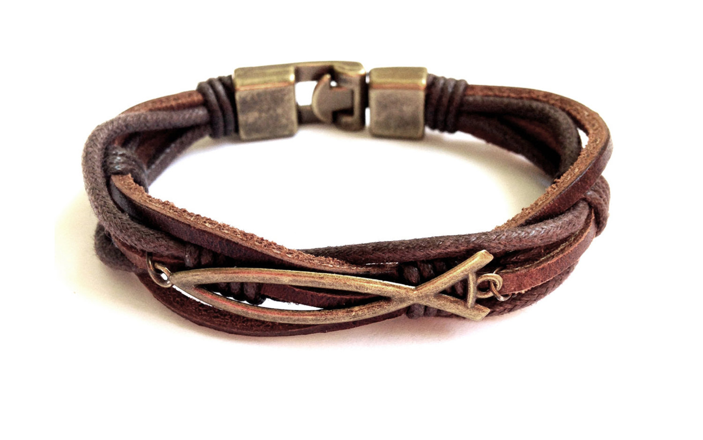 Leather bracelet men Faith Bracelet Christian Leather ...