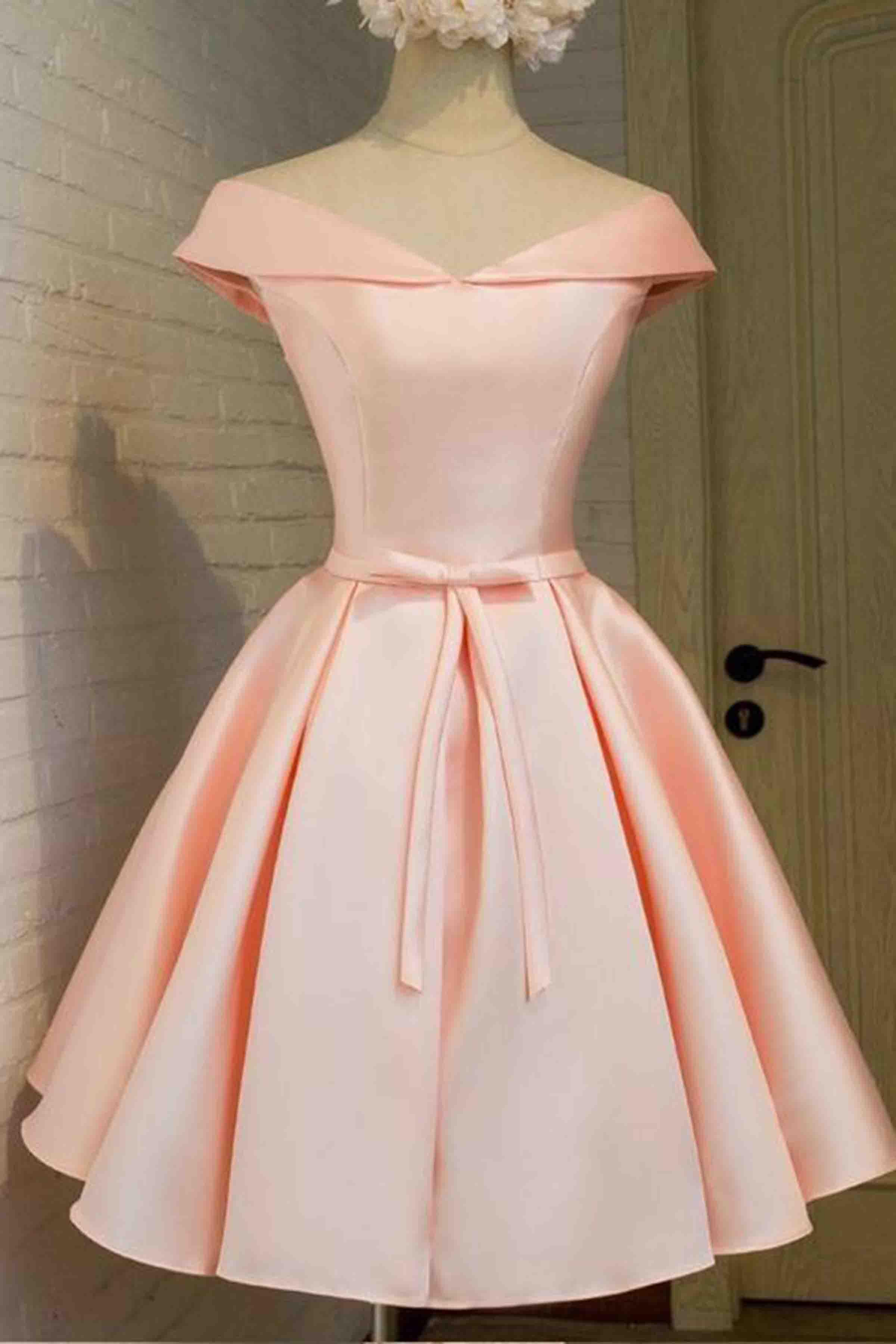 648cf401d2b Pink satin off-shoulder lace up dress