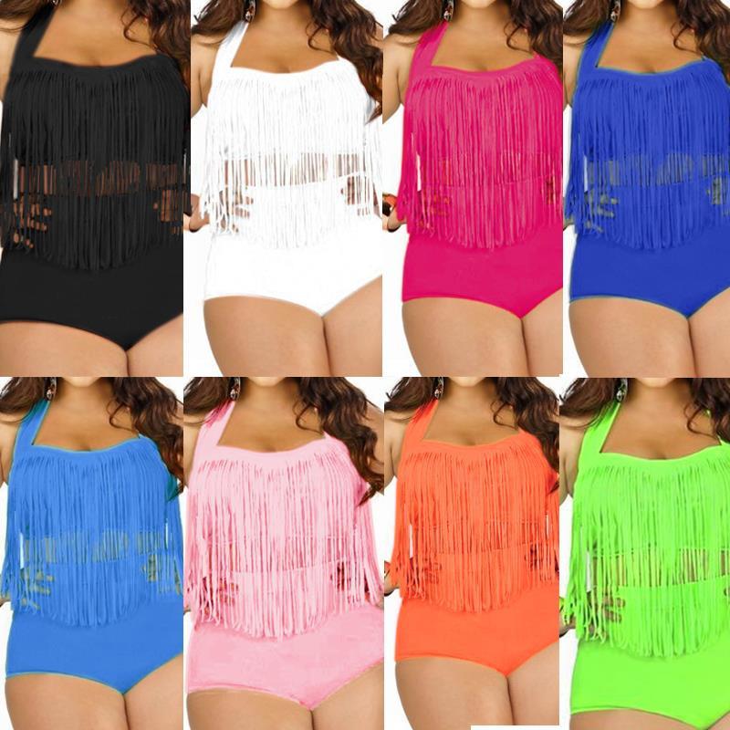 79d534faa6cf2 Plus Size Bikini Set Women Retro Padded Push Up Tassel High Waist ...