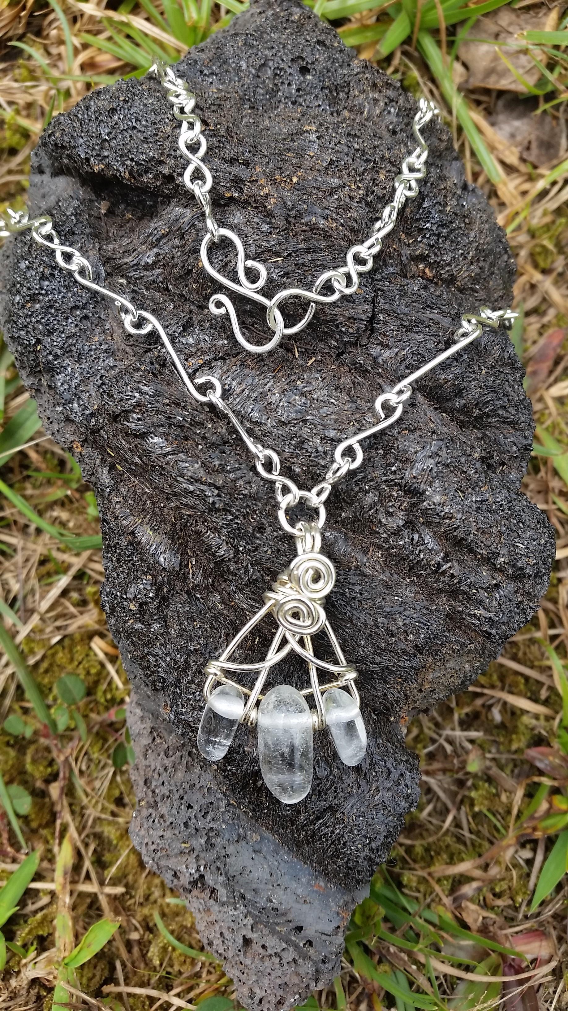 Quartz wire wrapped pendant handmade