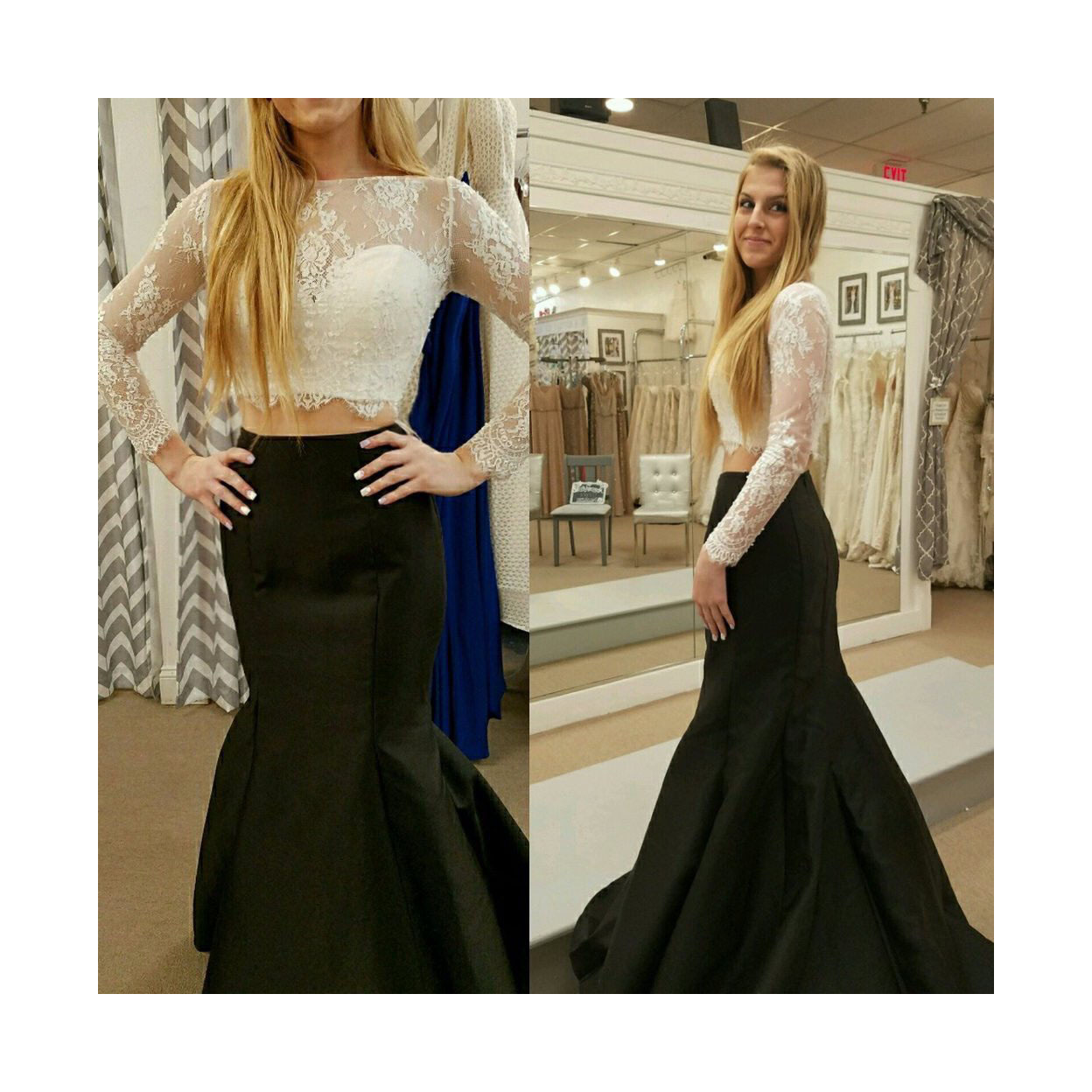 7f1d78083a Elegant Two Piece Illusion Long Sleeve Lace Bodice Mermaid Prom Dress