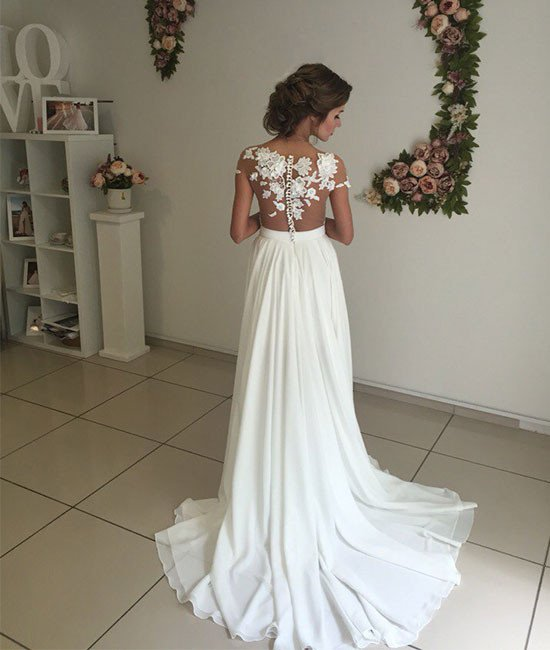 4ef66f6b3adc Elegant Summer Beach Wedding Dresses Sheer Lace Appliques Chiffon Side Slit  A-line Bridal Gowns ...
