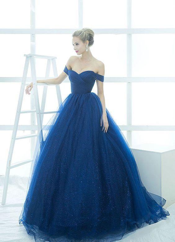 Elegant A-Line Off-Shoulder Ball Gown Royal Blue Tulle Long Prom ...
