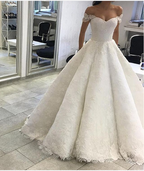 Ball Gown Off Shoulder Sleeves Ivory Lace Wedding Dress