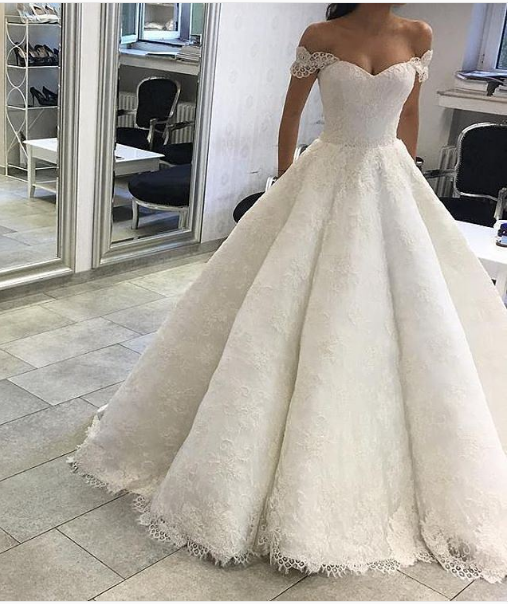 51b5c735a2bfc Ball Gown Off Shoulder Sleeves Ivory Lace Wedding Dress