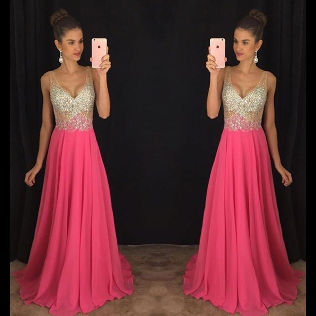 Hot Pink Prom Dress Long Prom Dresses Graduation Party