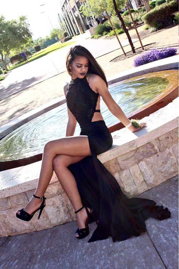fd3b69977cb Sexy Black Prom Dress with High Slit