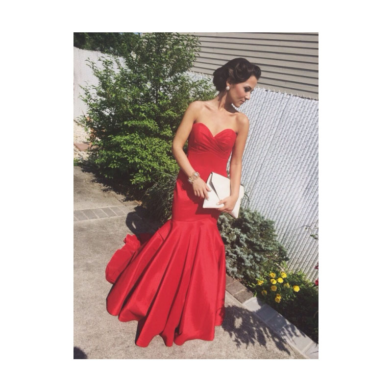 5b162fe315 Red Strapless Sweetheart Neckline Drop Waist Ruched Mermaid Prom Dress