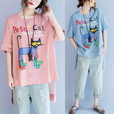 Emo Summer Pete Cat T-Shirt Kpop Hip Hop Plus Size Tee