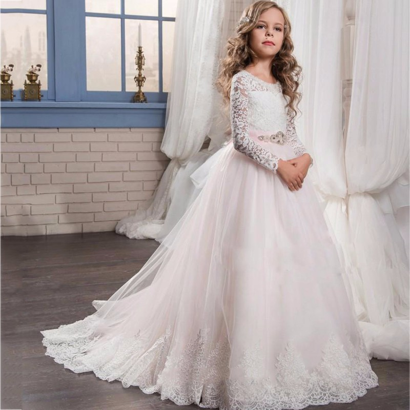 e9123b9b5 White Pink Long Sleeves Flower Girl Dresses, Girls First Communion Dress,  Junior Bridesmaid Dress, Girls Pageant Dresses,Kids Prom Evening Dress on  Storenvy