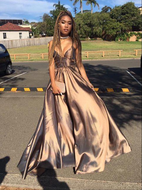 Simple V Neck Long Prom Dress Evening Dresses 183 Dreamy