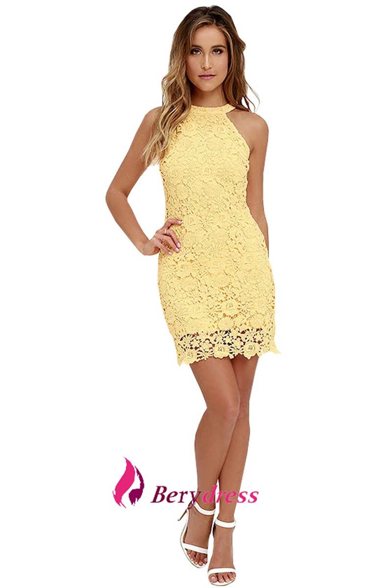 9fb69a5898 Berydress Womens Elegant Sexy Halter Neck Sleeveless Sheath Bodycon Lace  Dress Short on Storenvy