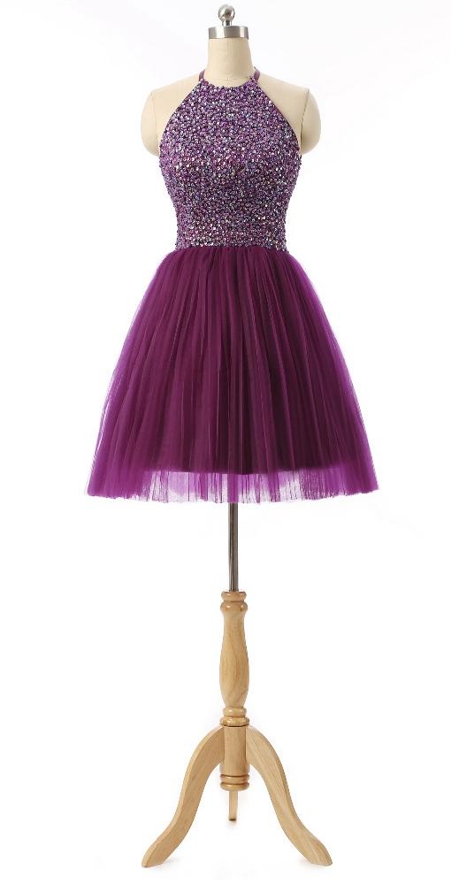 Purple Homecoming Dressshort Prom Dressgraduation Party Dresses