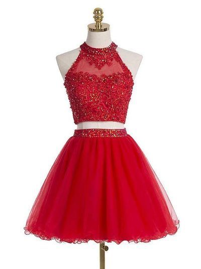 a25850fe7661 Two Pieces Red Homecoming Dress,Short Prom Dress,Graduation Party Dresses, Homecoming  Dresses