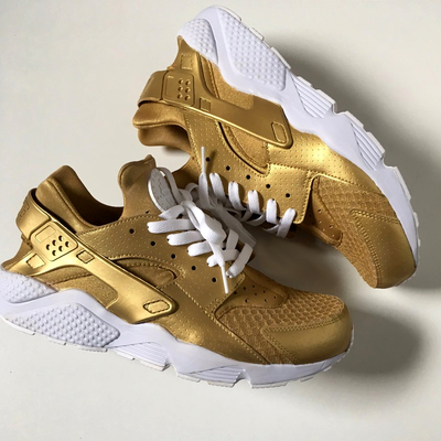 2421bea1c002 Tan Camel Nude Brown   White Nike Air Huaraches.  210.00 · Gold   white  custom nike air huaraches