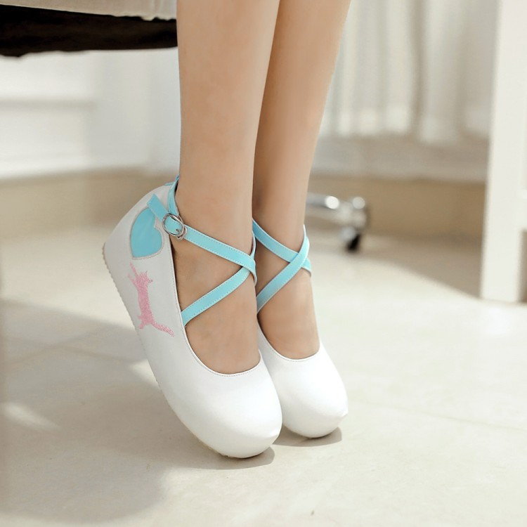 6c314da23810 Japanese 20kawaii 20cat 20heart 20wedges 20lolita 20girly 20platform  20shoes 20dc350 original