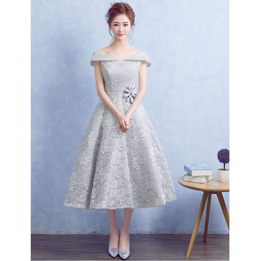 ed71b0cf Silver Grey Lace Off The Shoulder Bridesmaid Dress Tea Length Party