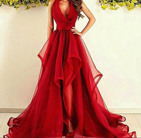 Amazing red long prom dress, red evening