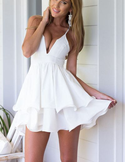 White Short Dresses for Girls