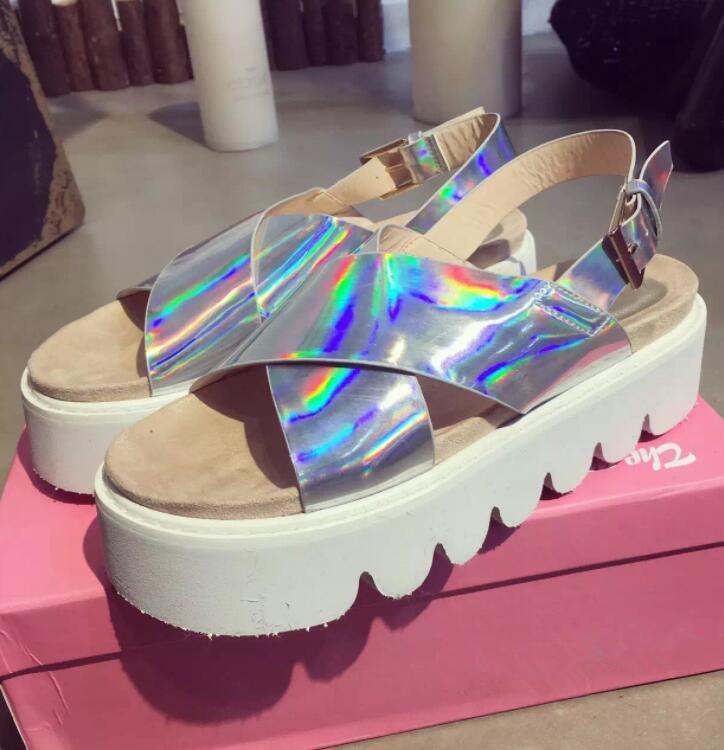 a0869c07e5a Hologram Strap Platform Sandals · Littlepinko · Online Store Powered ...