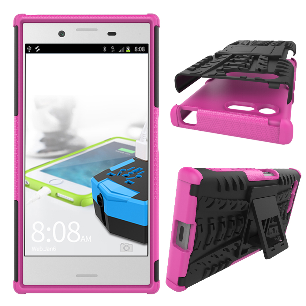 the latest 10fe4 07325 Hybrid Armor Dual Layer Kickstand Protective Case for Sony Xperia X Compact  - Hot pink from citb