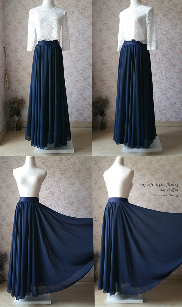 shopping luxury fashion get online NAVY BLUE Chiffon Full Long Maxi Skirt Women Navy Maxi Silky Chiffon Skirt  sold by Dressromantic