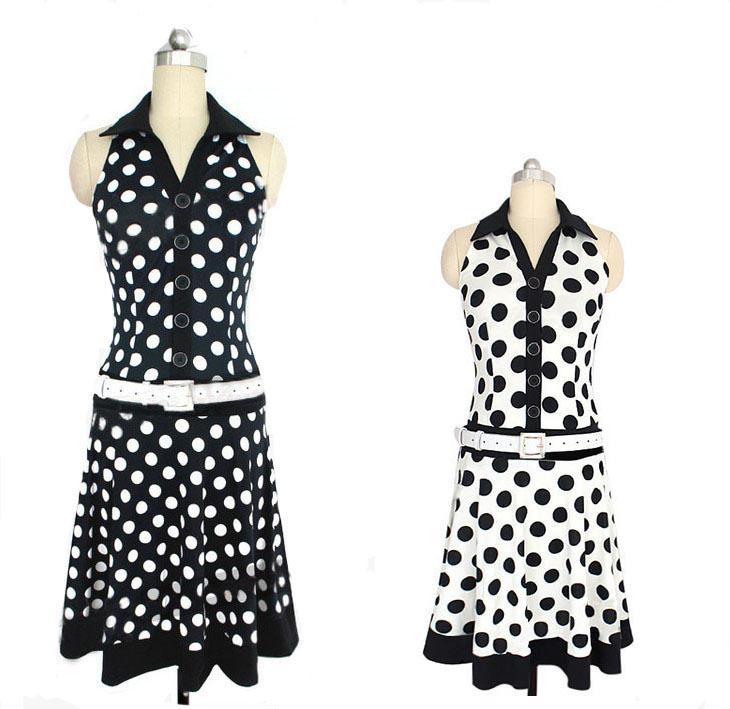 XS-M black white polka dot chiffon pointed collar sleeveless pin-up ...
