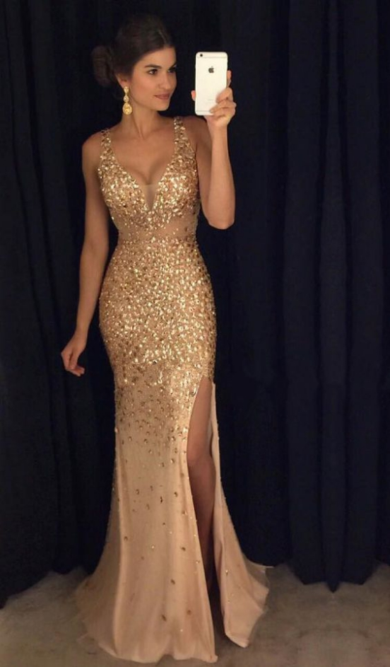 Beaded Gold V Neck Prom Dress,Fitted Slit